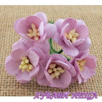 Цветя от Мълбери хартия- Черешов цвят 25мм Лилав 5 бр