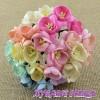 Цветя от Мълбери хартия- Черешов цвят 25мм Микс Пастелни цветове 10 бр