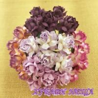 Цветя от Мълбери хартия Кичеста Роза 30мм Микс Пурпурно/Лилав 5бр