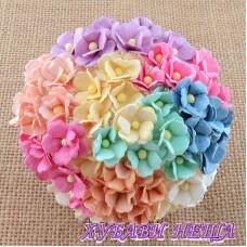 Цветя от Мълбери хартия Цветчета 15мм Микс Пастелни цветове  10бр
