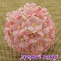 Цветя от Мълбери хартия Цветчета 15мм 2-Тона Бебешко Розово 10бр