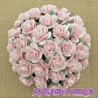 Цветя от Мълбери хартия Рози 25мм Розова мъгла- 5бр
