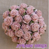 Цветя от Мълбери хартия Рози 15мм Прасковен полъх- 10бр