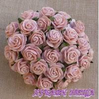 Цветя от Мълбери хартия Рози 25мм Прасковен полъх- 5бр