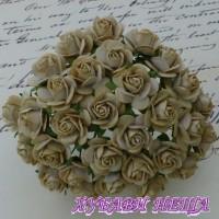 Цветя от Мълбери хартия Рози 20мм Светла Мока- 5бр