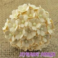 Цветя от Мълбери хартия Цветчета 15мм Тъмна Слонова кост- 10бр