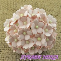 Цветя от Мълбери хартия Цветчета 15мм Розова мъгла- 10бр