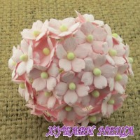 Цветя от Мълбери хартия Цветчета 15мм Бледо Розово- 10бр