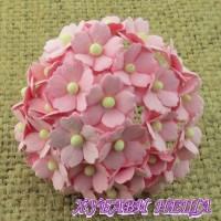 Цветя от Мълбери хартия Цветчета 15мм Бебешко Розово- 10бр