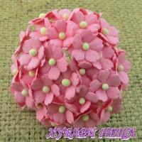 Цветя от Мълбери хартия Цветчета 15мм Розово- 10бр