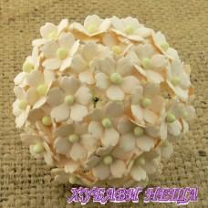 Цветя от Мълбери хартия Цветчета 15мм Бледо Прасковен- 10бр
