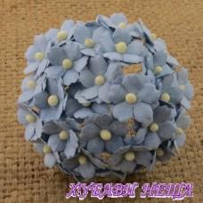 Цветя от Мълбери хартия Цветчета 15мм Бебешко Син- 10бр