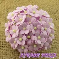 Цветя от Мълбери хартия Цветчета 15мм Люляков- 10бр