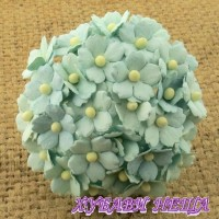 Цветя от Мълбери хартия Цветчета 15мм Пастелно Зелен- 10бр