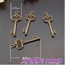 Метален ключ Античен бронз 4.5x1.7cm 1бр
