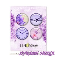 Комплект от 4 самозалепващи Бутони/Значки- Violet Silence