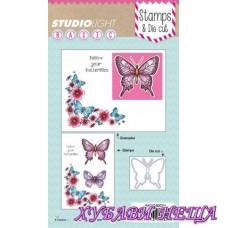 Печати и шаблон за изрязване и релеф Follow Your Butterflies