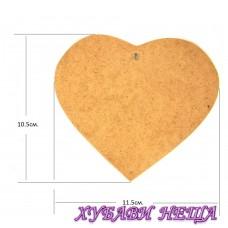 Сърце-право от MDF- 11.5x10.5см