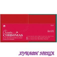 К-кт заготовки за картички с пликове- Red & Green 102x102 мм 25бр
