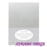DCCE003 К-кт заготовки за картички с пликове-Silver Metallic 13x18см 8бр