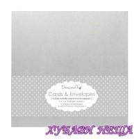 """DCCE004 К-кт заготовки за картички с пликове- Silver Metallic 6""""x6"""" 8бр"""