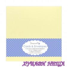 """DCCE027 Комплект заготовки за картички с пликове- Cream 6""""x6"""" 10бр"""