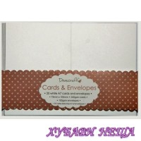 К-кт заготовки за картички с пликове-Бели 74x105мм 20бр