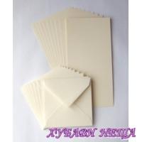 """DCCE070 Комплект заготовки за картички с пликове- Ivory 6""""x6"""" 10бр"""