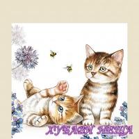 Салфетка за декупаж- 031A Котки и Пчели
