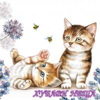 Салфетка за декупаж- 031 Котки и Пчели