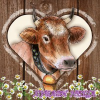 Салфетка за декупаж- 100 Крава в Сърце