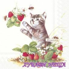 Салфетка- 1399 Kitty and Strawberries 1бр
