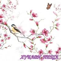 Салфетка- 1302 Bird & Blossom white