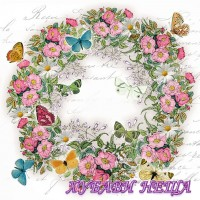 Салфетка за декупаж- 041 Венец от Цветя