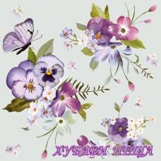 Салфетка- 386 Spring Flowers on Blue Background 1бр