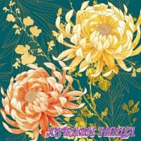 Салфетка- Хризантеми петролен 985A