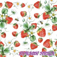 Салфетка- 1637 Strawberries All Over white