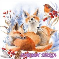 Салфетка- K031 Foxes And Robin 1бр