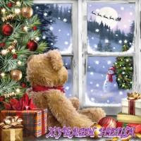 Салфетка- K065 Teddy Looking At Santa