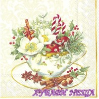Салфетка- K126 Cup of Christmas white