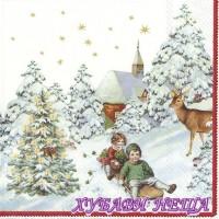 Салфетка- K128A Годишен Коледен сняг