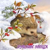 Салфетка- K279 Hedgehog In Snow