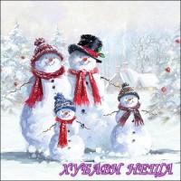 Салфетка- Снежен човек със шапка, 33x33см.