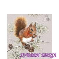 Салфетка- Катерица през зимата, 25x25см