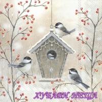 Салфетка- K378 Красива Къщичка за Птици
