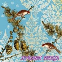 Салфетка- K471 Pinecone Ornaments Blue