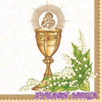Салфетка- 910 Chalice with Lilies of the Valley gold