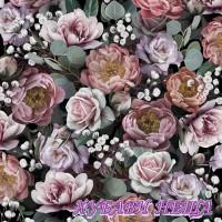 Салфетка- 506A Vintage Flowers black