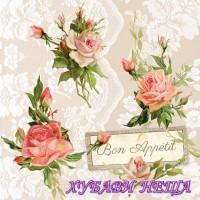 Салфетка- 1308 Рози върху дантела