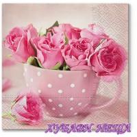 Салфетка- 1587 Рози в чаша